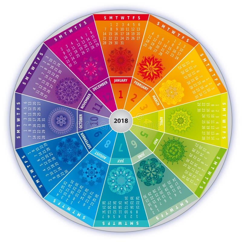 2018与坛场的日历在彩虹颜色 向量例证