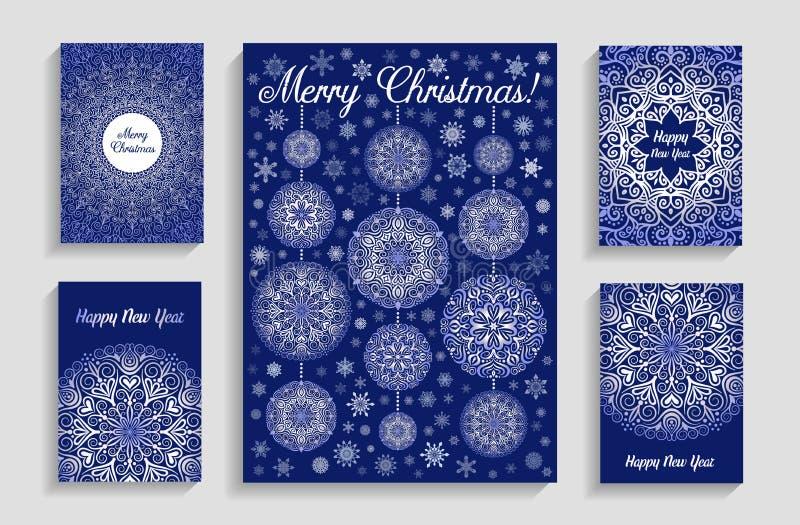 与坛场雪花的圣诞卡在蓝色背景 库存例证
