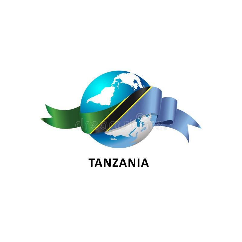 与坦桑尼亚旗子的世界 库存照片