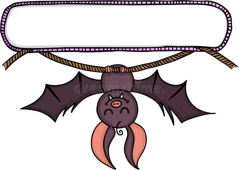 与垂悬在绳索的棒的空白的标签胶粘物 向量例证