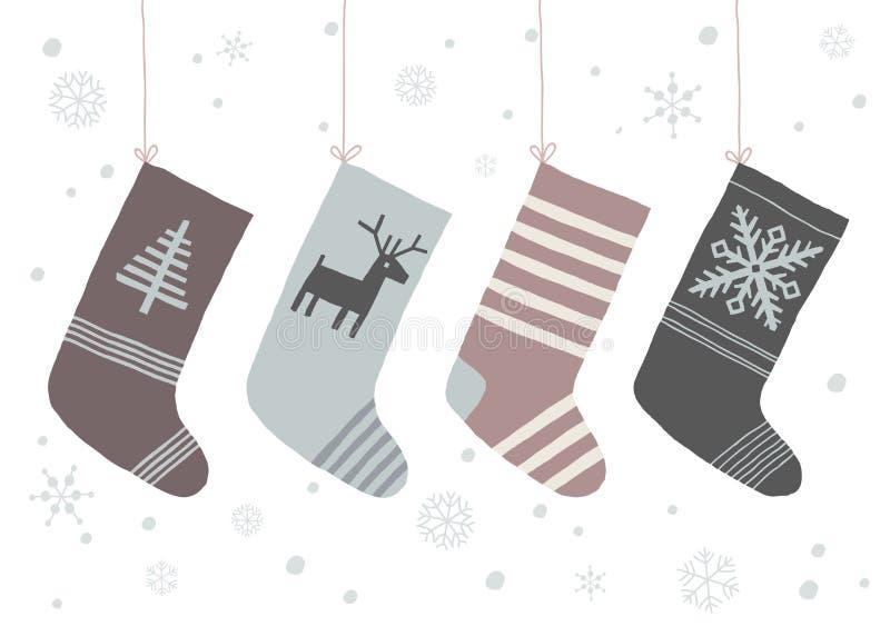 与垂悬在绳索的雪花和袜子的圣诞节背景 被隔绝的动画片传染媒介手拉的eps 10例证 皇族释放例证
