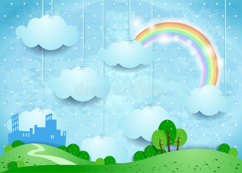 与垂悬的云彩和小城市的超现实的风景 皇族释放例证