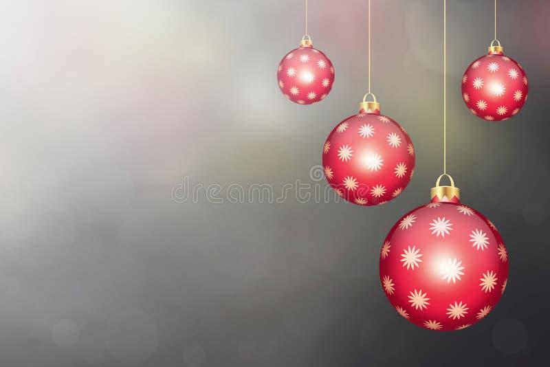 与垂悬的圣诞节球的圣诞卡片 库存例证