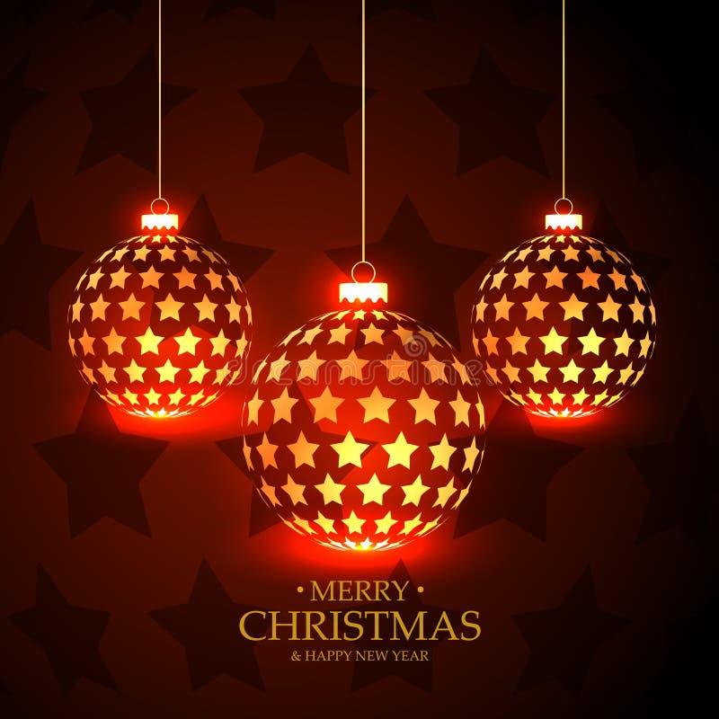与垂悬的圣诞节球的美好的红色背景做与 向量例证