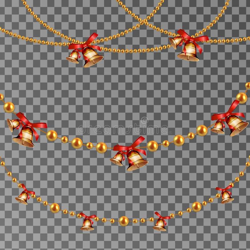 与垂悬的圣诞节诗歌选金子的抽象传染媒介背景成串珠状与门铃 为庆祝的设计, Xmas假日g设置 库存例证