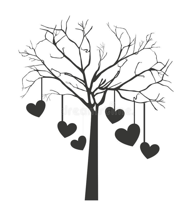 与垂悬的心脏被隔绝的象设计的树 库存例证