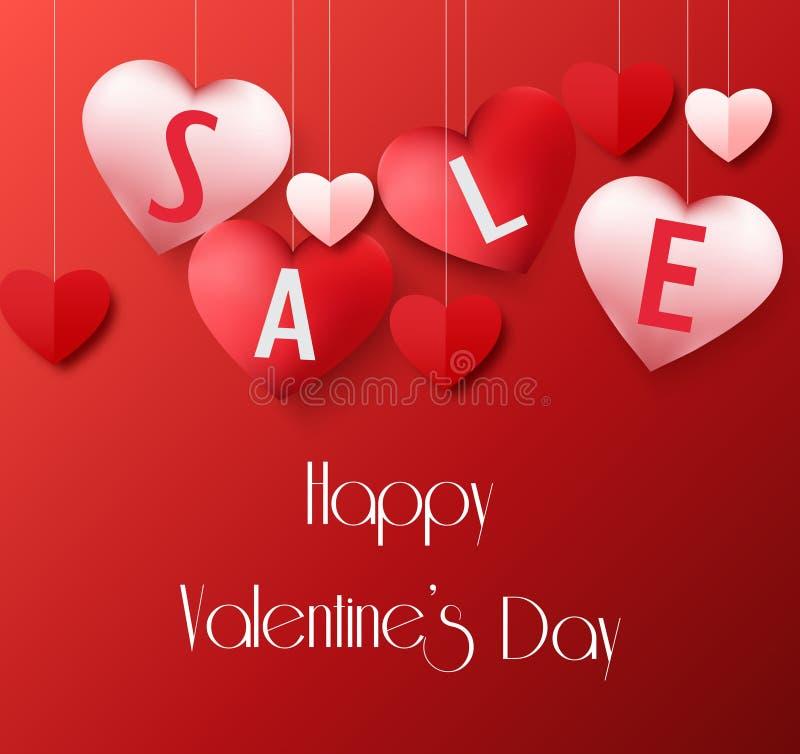 与垂悬的心脏销售气球的情人节背景 皇族释放例证