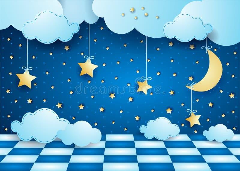 与垂悬的月亮、云彩和地板的超现实的夜 库存例证