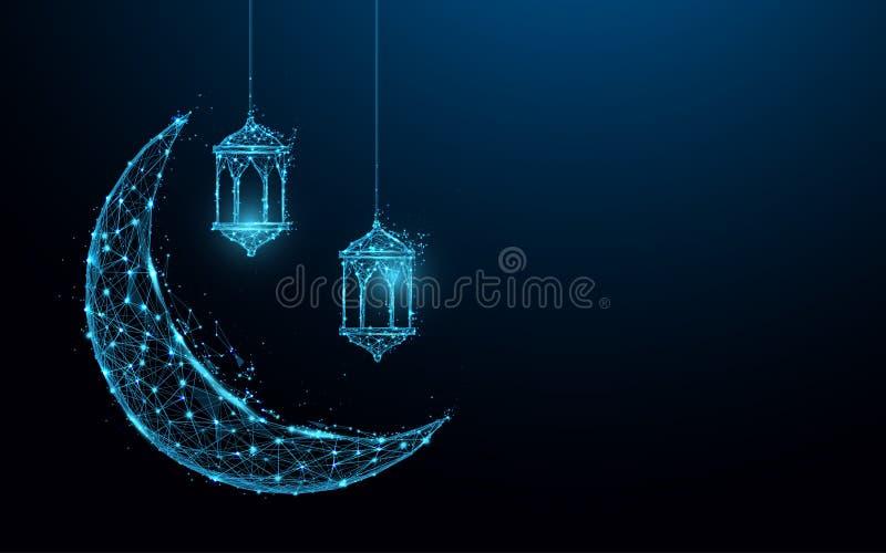 与垂悬的灯伊斯兰教的节日概念形式线和三角,在蓝色背景的点连接的网络的新月形月亮 库存例证