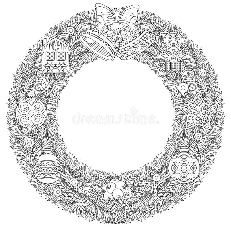 与垂悬的装饰品的圣诞节花圈 向量例证
