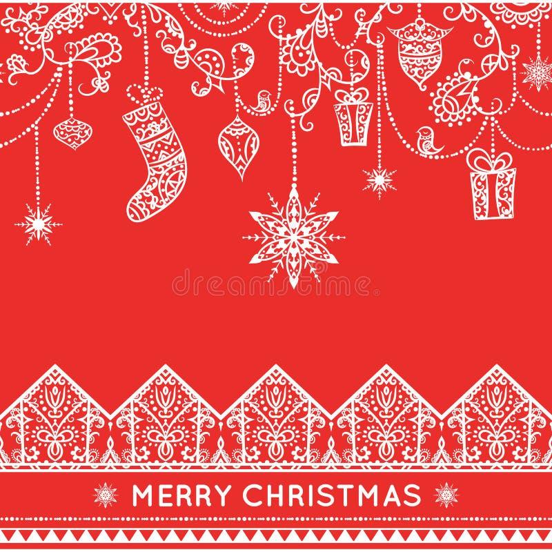 与垂悬的装饰的无缝的圣诞节样式 库存例证