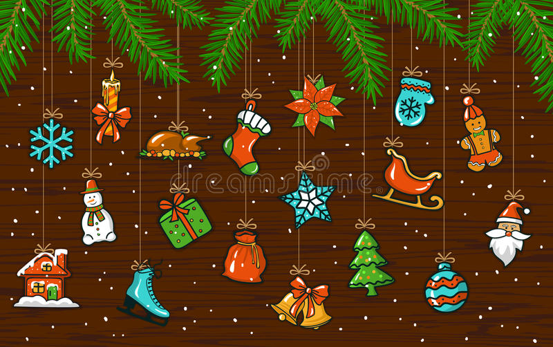 与垂悬的装饰xmas元素的圣诞快乐和新年快乐背景 库存例证
