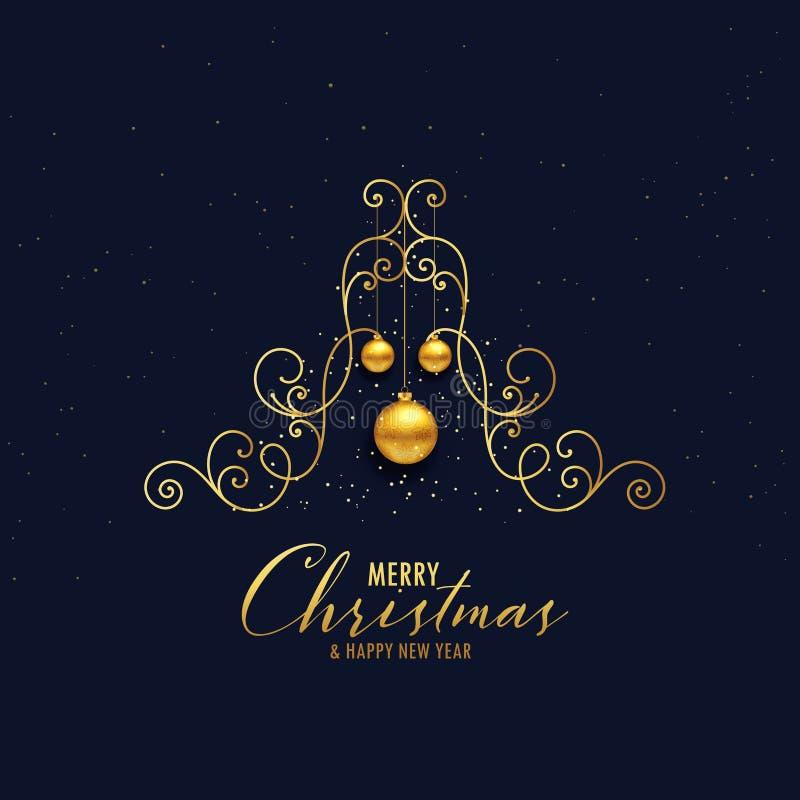 与垂悬的ba的创造性的金黄装饰圣诞树设计 向量例证