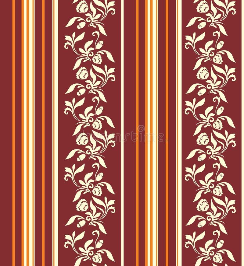 与垂直条纹的无缝的装饰品和在温暖的颜色的花卉样式 皇族释放例证
