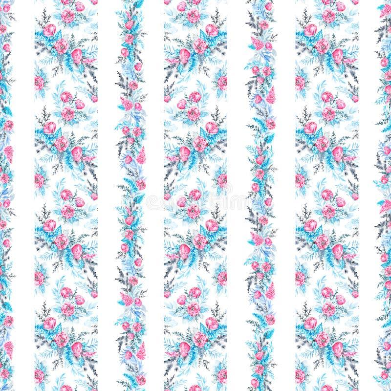 与垂直的花饰的水彩无缝的样式 皇族释放例证