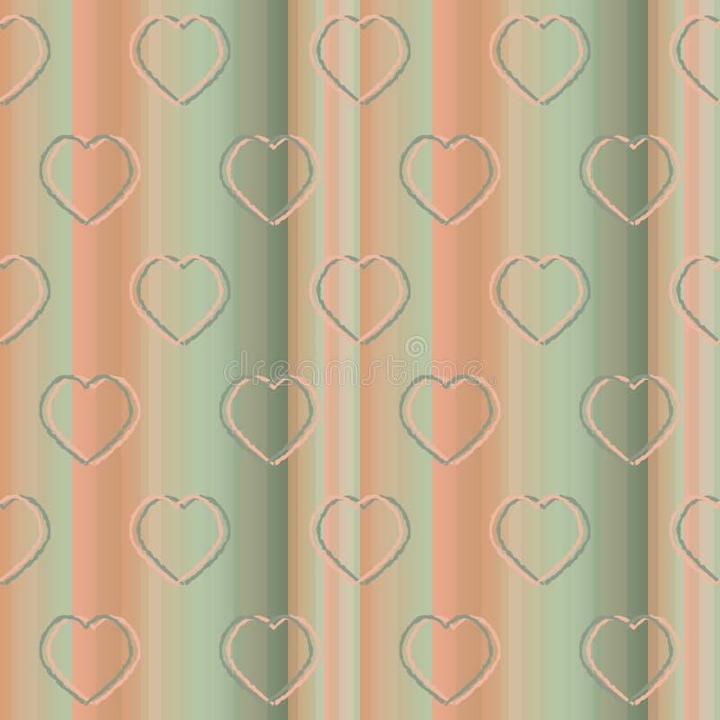 与垂直条纹和心脏的装饰无缝的样式 皇族释放例证
