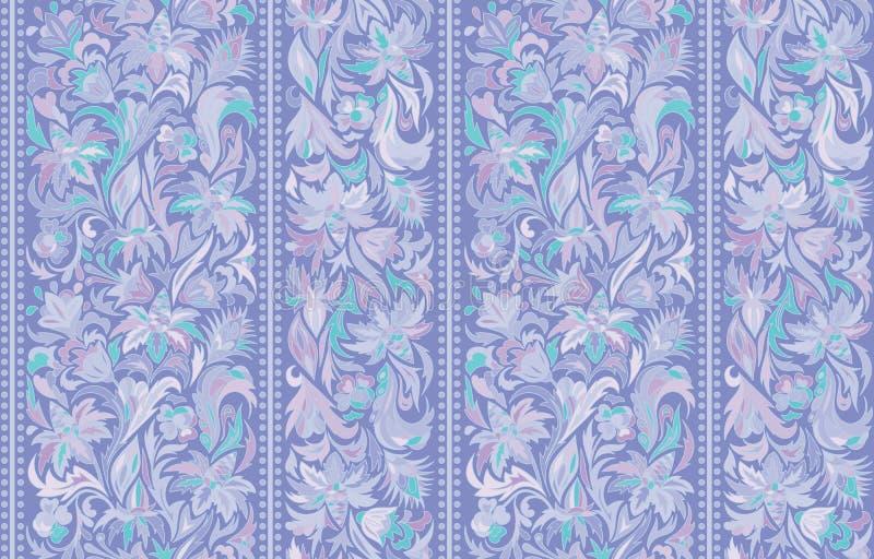 与垂直条纹和花卉手图画装饰品的无缝的样式 传染媒介墙纸 向量例证
