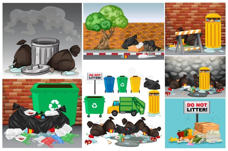 与垃圾和trashcans的路场面 皇族释放例证