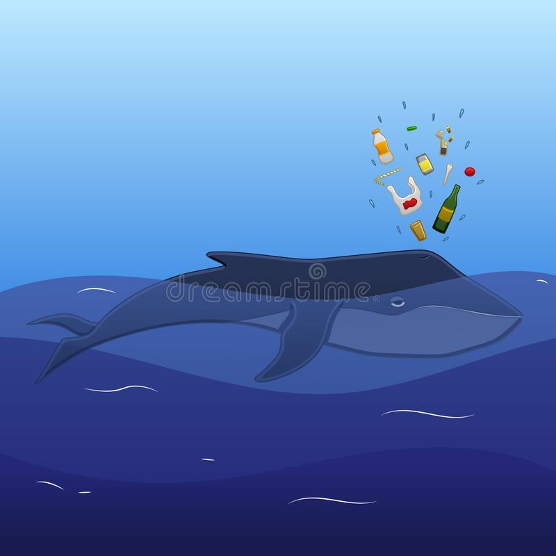 与垃圾喷口的鲸鱼 向量例证