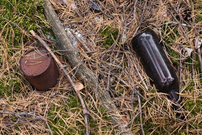 与垃圾塑料瓶,玻璃瓶,金属铁锈罐头的森林污染 图库摄影