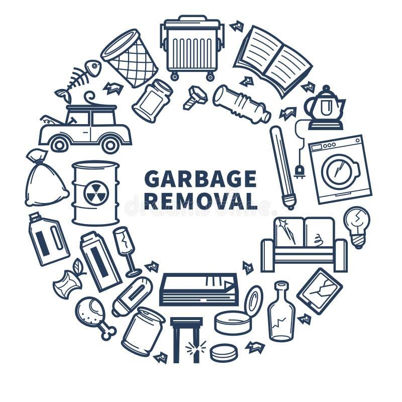 与垃圾的垃圾撤除电视节目预告单色象征在圈子 库存例证