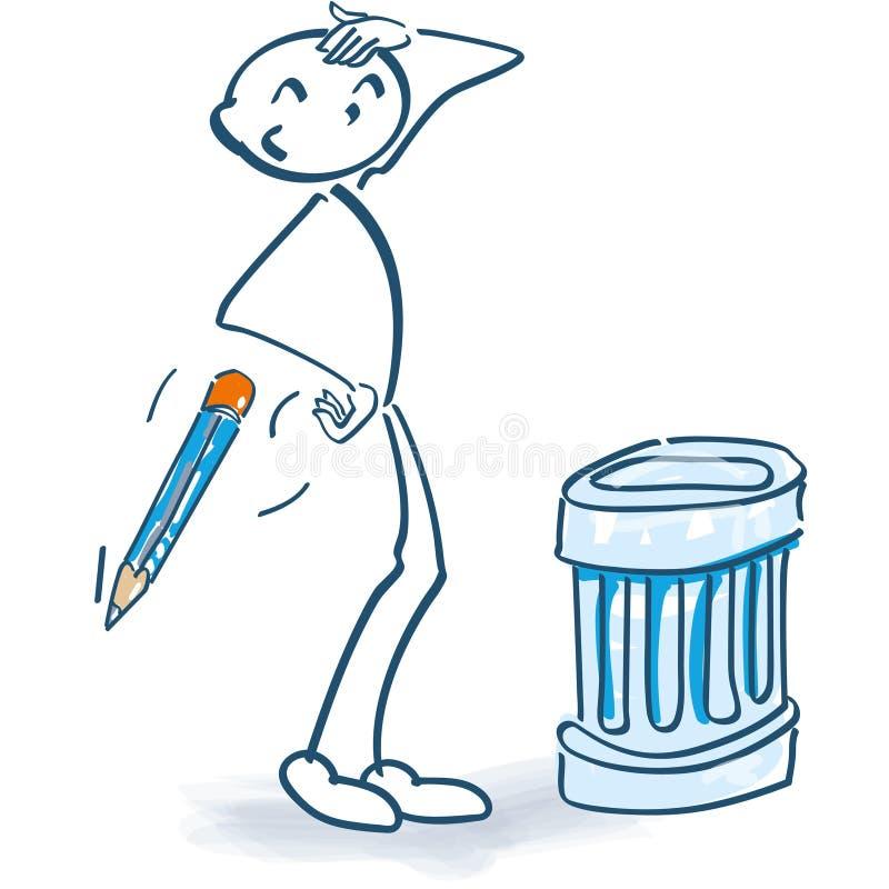 与垃圾箱的棍子形象 库存例证