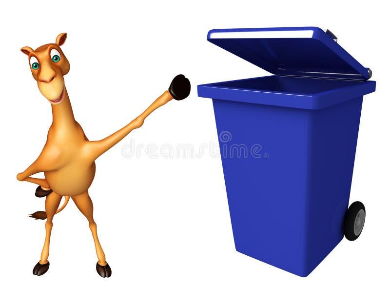 与垃圾箱的逗人喜爱的骆驼漫画人物 库存例证
