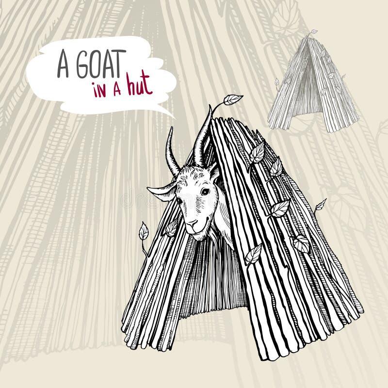与垫铁和胡子的一只满意的白色山羊,看在小屋外面 黑白手拉的传染媒介图画 库存例证