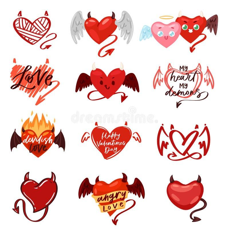 与垫铁的恶魔心脏传染媒介爱红色标志在爱的情人节卡片浪漫例证可爱的套有之心 库存例证