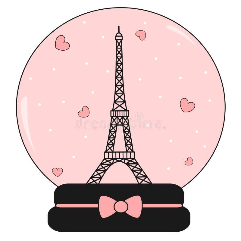 与埃佛尔铁塔和心脏逗人喜爱的可爱的桃红色和浪漫的雪水晶球例证 皇族释放例证