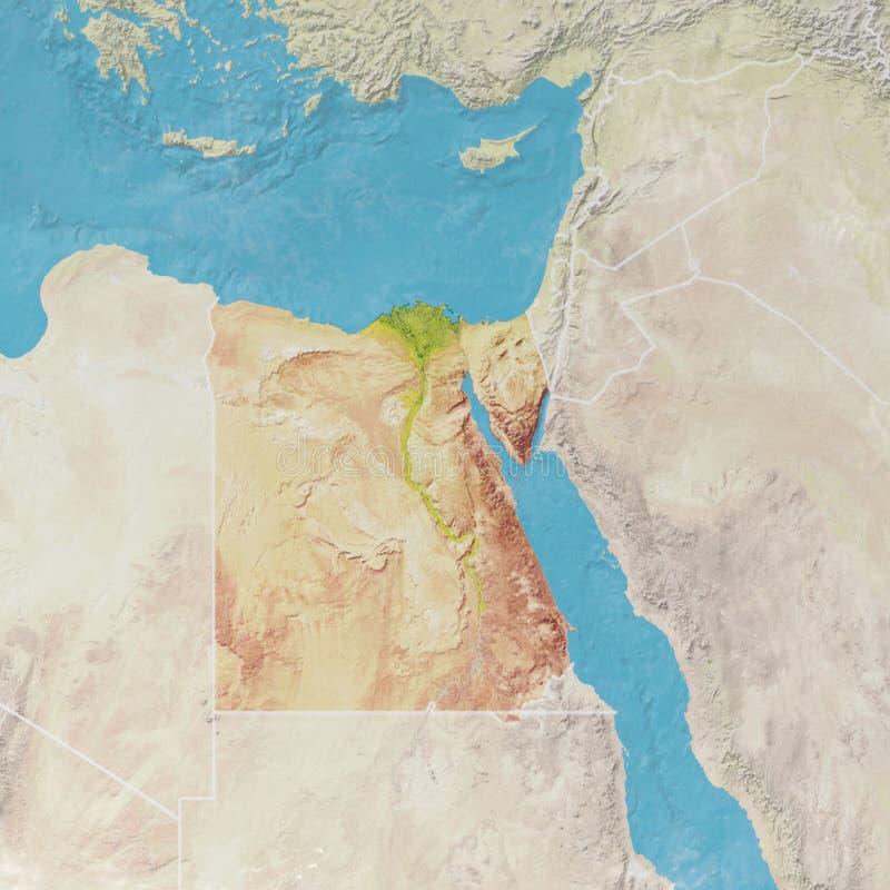 与埃及的安心,卫星看法的物理地图 库存例证