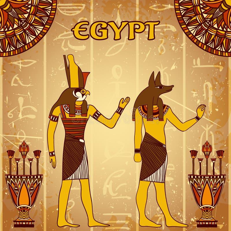 与埃及神的葡萄酒海报与古老埃及象形文字的剪影的难看的东西背景的 向量例证