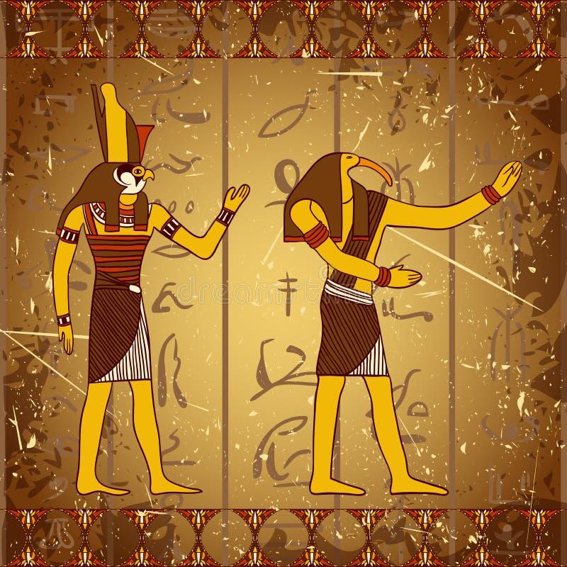 与埃及神的葡萄酒海报与古老埃及象形文字的剪影的难看的东西背景的 库存例证