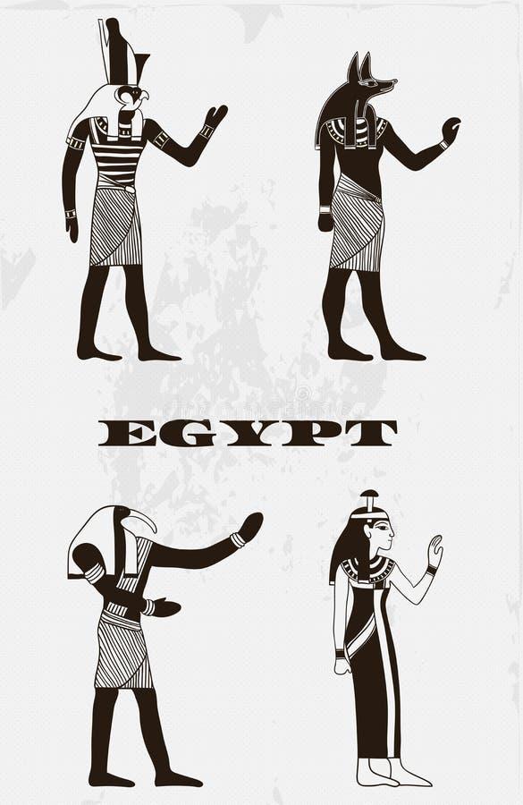 与埃及神的葡萄酒海报难看的东西背景的 向量例证
