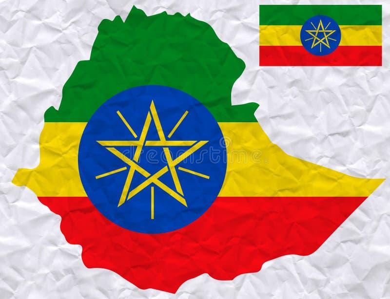 与埃塞俄比亚旗子和地图水彩绘画的传染媒介老压皱纸  向量例证