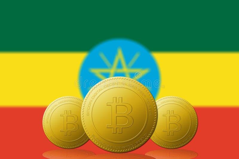与埃塞俄比亚旗子的三Bitcoins cryptocurrency在背景 皇族释放例证