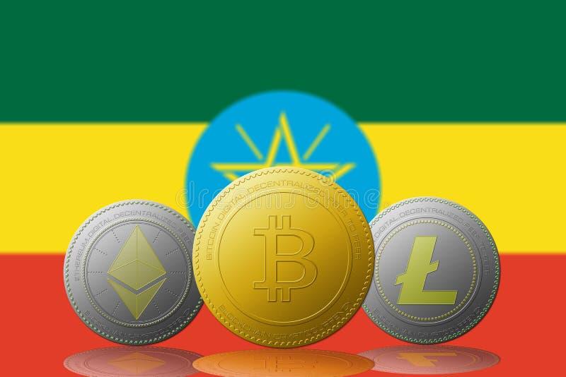 与埃塞俄比亚旗子的三cryptocurrencies Bitcoin Ethereum和Litecoin在背景 皇族释放例证