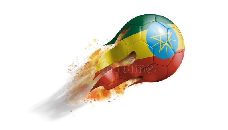 与埃塞俄比亚旗子的飞行的火焰状足球 皇族释放例证