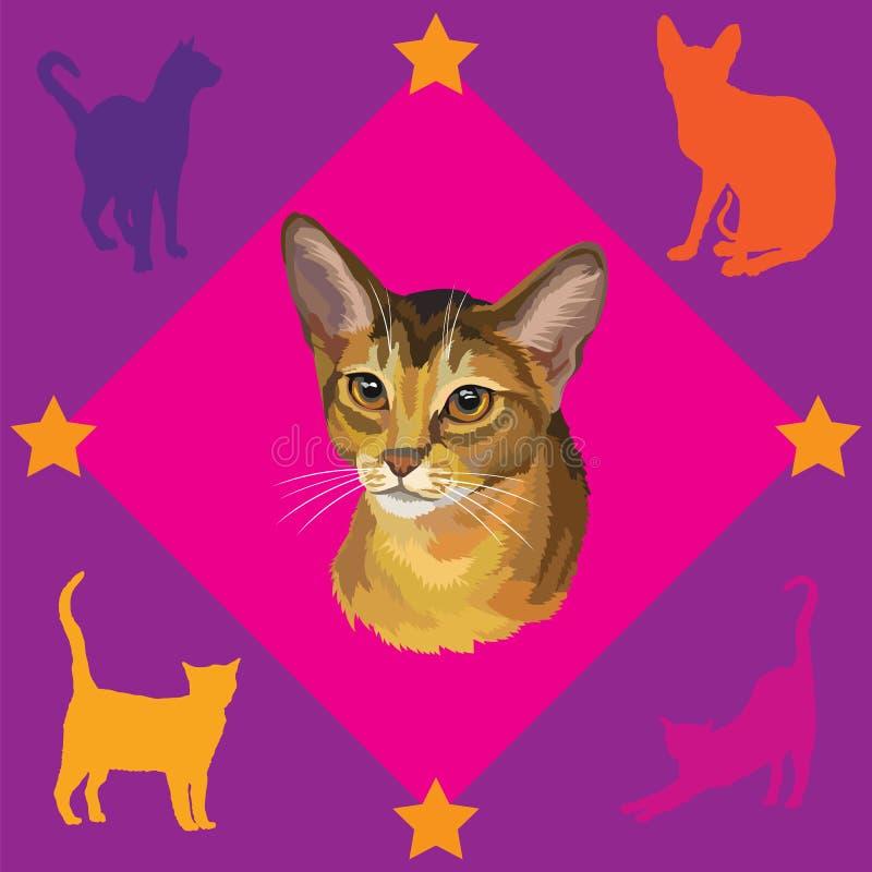 与埃塞俄比亚猫的无缝的样式 库存例证