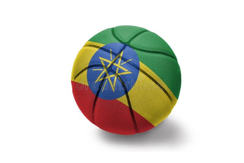 与埃塞俄比亚的国旗的篮球球白色背景的 库存照片