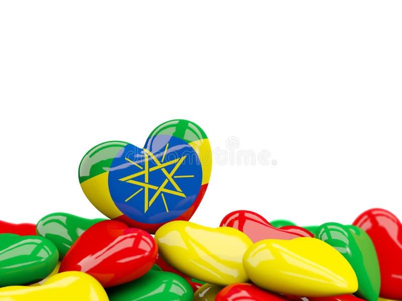 与埃塞俄比亚的旗子的心脏 皇族释放例证