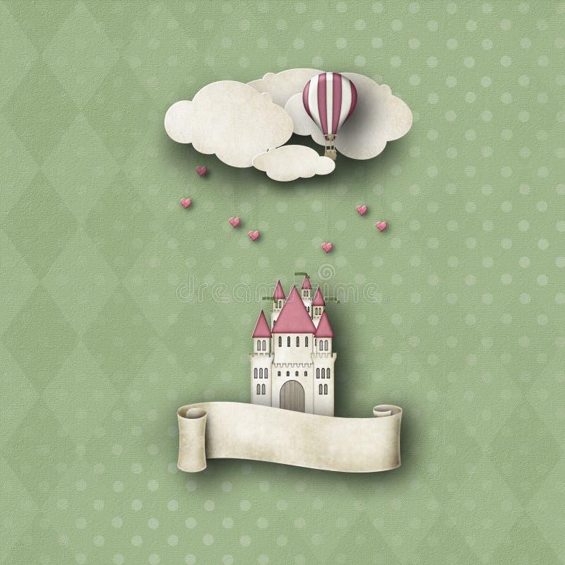 与城堡和气球的奇想的背景 皇族释放例证