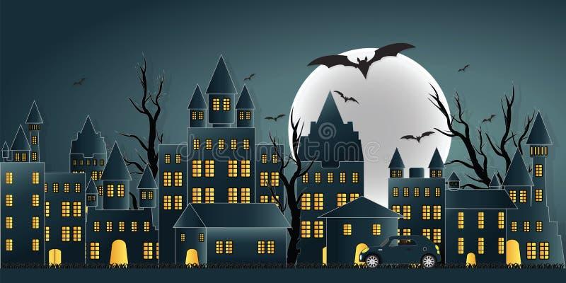 与城堡的愉快的万圣夜天鬼魂党在黄色月亮 向量例证