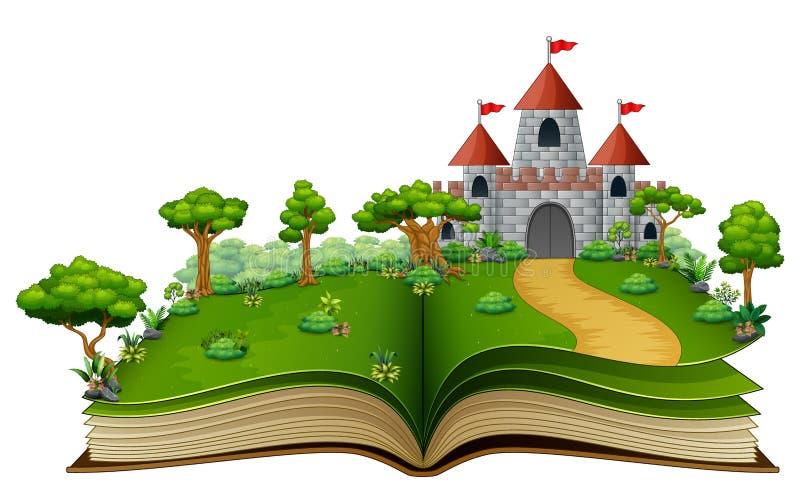 与城堡的故事书和河在绿色公园 库存例证