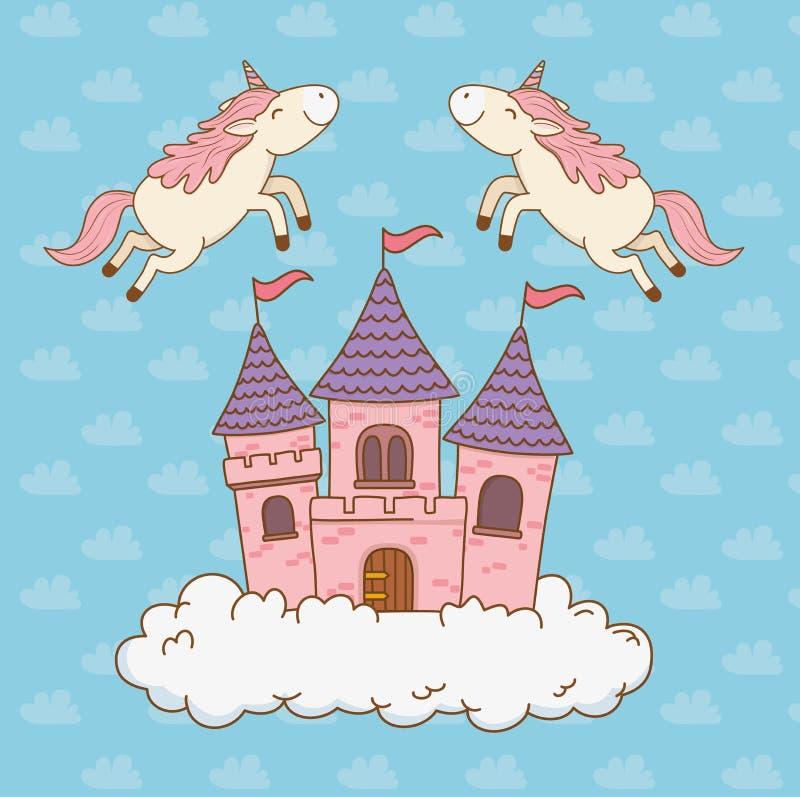 与城堡的逗人喜爱的童话独角兽在云彩 库存例证