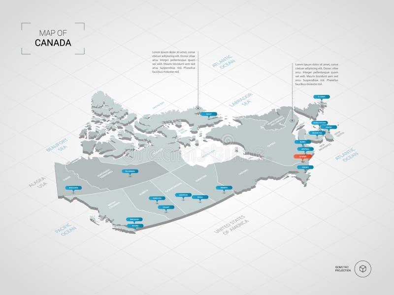 与城市名字和管理部门的等量加拿大地图 向量例证