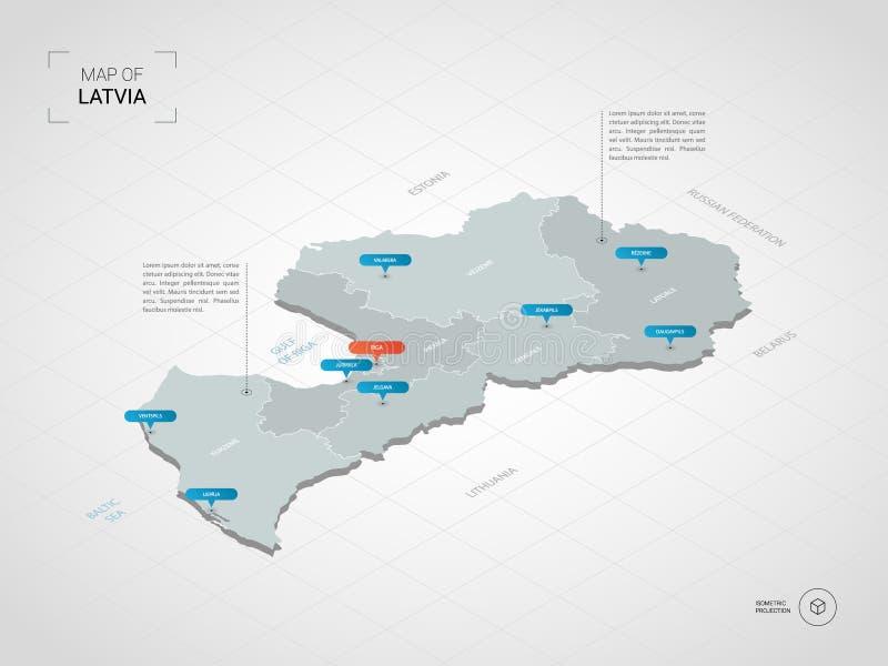 与城市名字和管理部门的等量拉脱维亚地图 向量例证