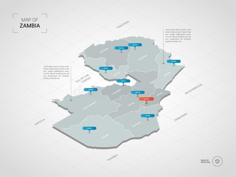 与城市名字和管理部门的等量赞比亚地图 库存例证