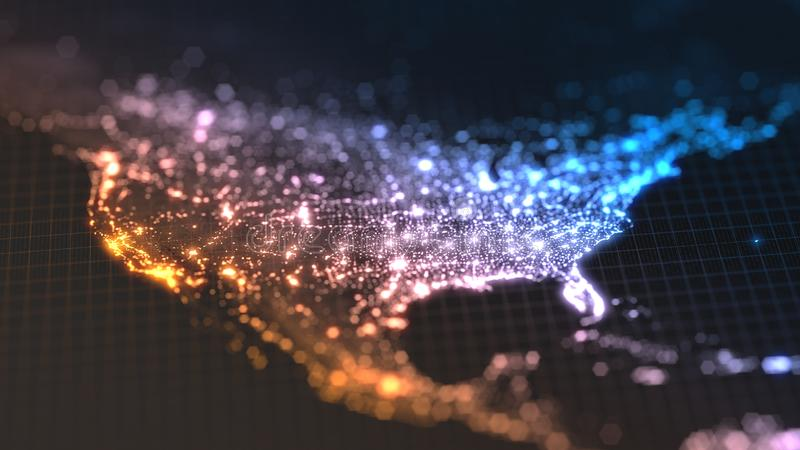 与城市和人口密度区域发光的细节的黑暗的地球地图  美国的wiew 3d例证 库存例证