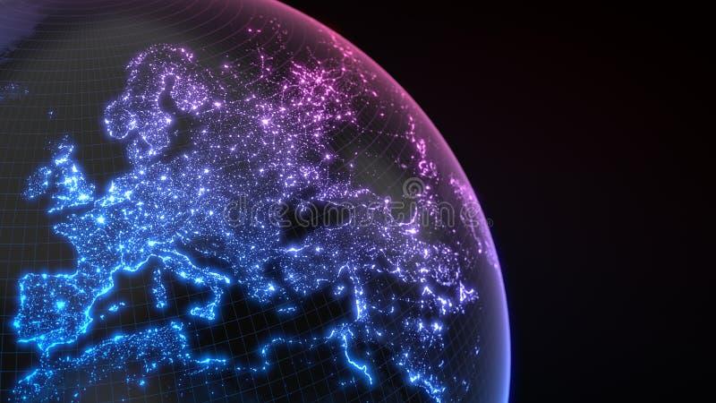 与城市和人口密度区域发光的细节的黑暗的地球地球  3d例证 向量例证